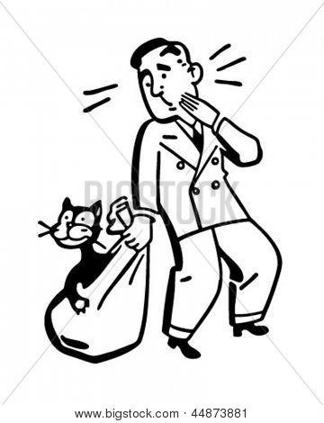 Gato fora do saco - Retro Clip Art ilustração
