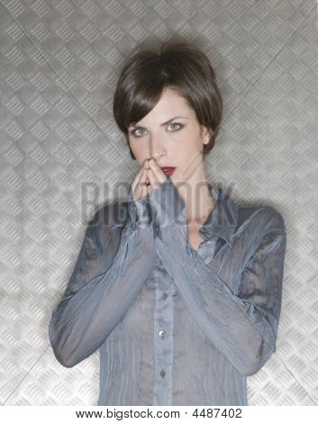 Beautiful Fashion Woman Over Steel Background