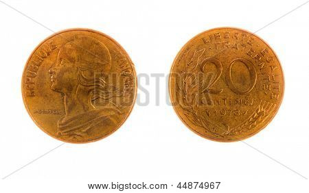 Pre EEC French 20 centimes coin isolated on white