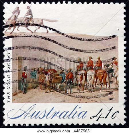Postage Stamp Australia 1990 Gold Escort, The Gold Rush