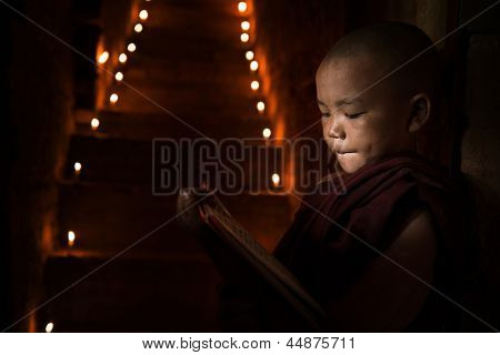 Little monk reading book inside monastery