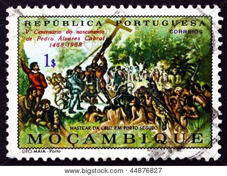 Postage Stamp Portuguese Mozambique 1970 Raising The Cross At Porto Seguro