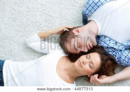 Above-view image of a happy couple enjoying togetherness