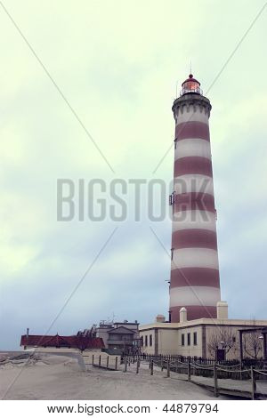 Lighthouse Of Aveiro In Praia Da Barra