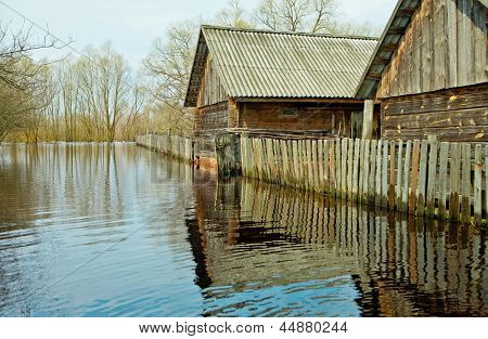 Flooded homes and plots of land in the villages during the spring flood of the river Pripyat