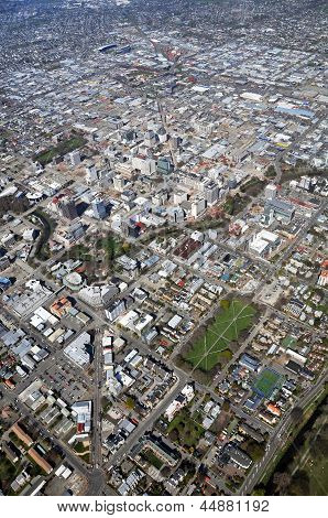 Aerial View Of Christchurch City & East Side Earthquake Demolitions