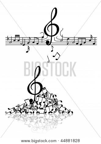 Musical background with spoiled notes