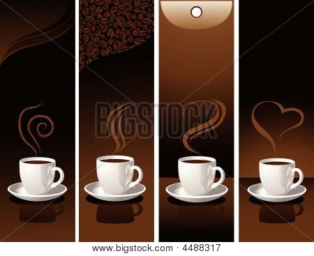 Banner With Coffee Cups.