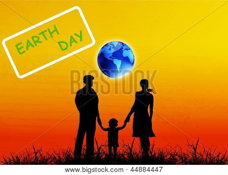 Happy Family and globe planet Earth.Earth day.