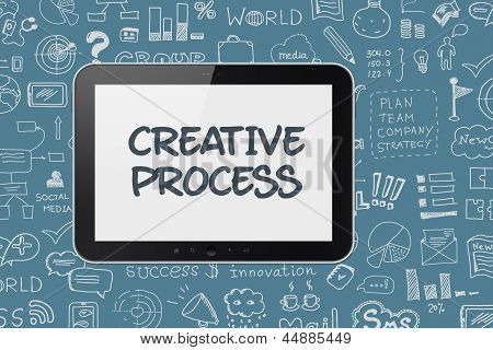 Digital Tablet With Brainstorming Process Background