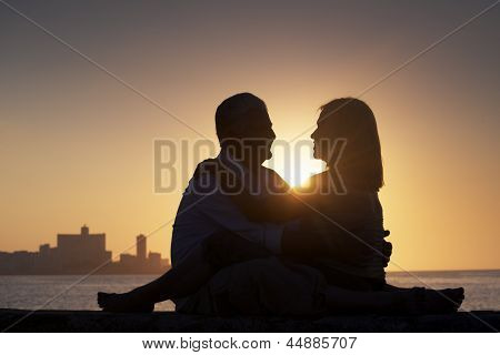 Active Retired People, Romantic Elderly Couple In Love, Kissing In Cuba