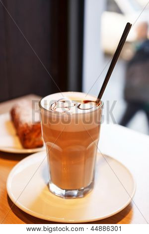 cappuccino in a  glass