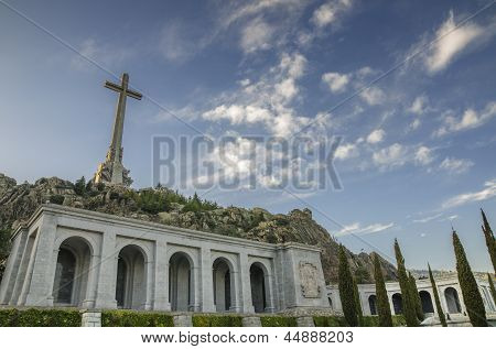 Christian Cross At Valley Of The Fallen San Lorenzo De El Escorial Madrid Spain.