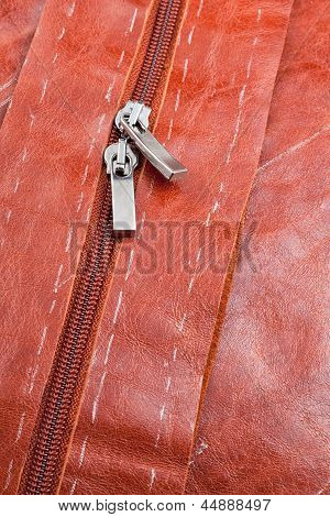 Metal Runners Of Zipper On Leather Clothing