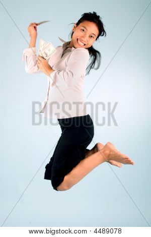 Woman With Money Jumping