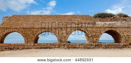 Roman aqueduct in Caesarea, Israel