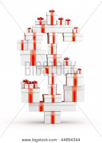 Dollar from boxes of gifts decorated with red ribbons