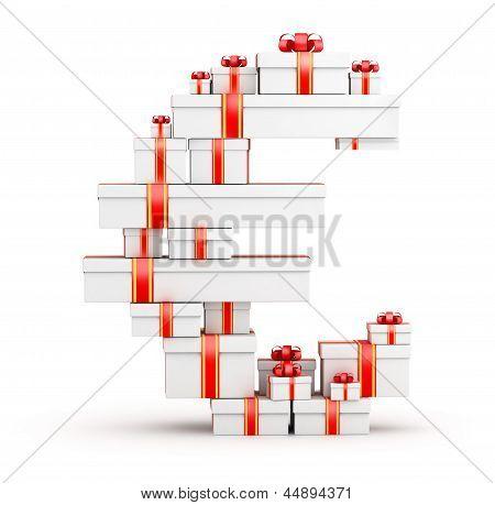 Euro sign  from boxes of gifts decorated with red ribbons