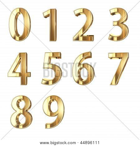 golden numbers isolated on white