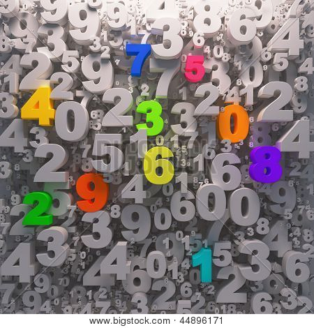 colorful numbers background 1-9