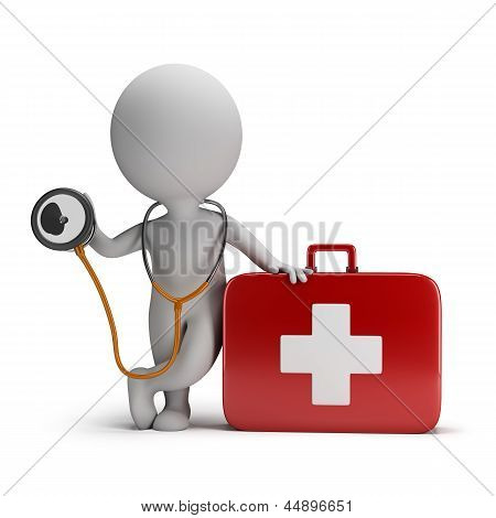 3D Small People - Stethoscope And Medical Kit