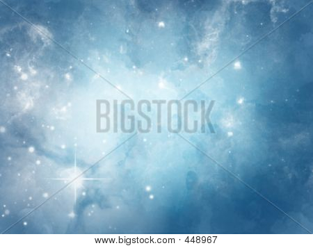 Blue Cloudy Star Field Bg