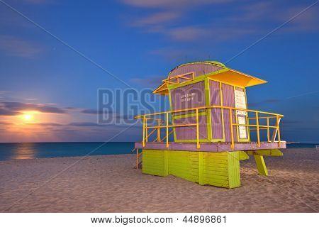 Miami Beach Florida colorful lifeguard house