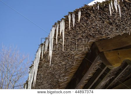 Small Icicles Retro Straw Roof Background Blue Sky
