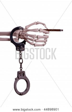 Skeleton Hand With Handcuff Holding Cigar