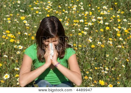 Child With Hay Fever Blowing Nose