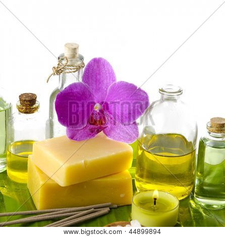 spa supplies with orchid .image of tropical spa.