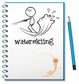 Illustration of a notebook with a sketch of a person waterskiing on a white background