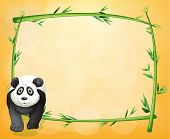 Illustration of an empty stationery with a bamboo frame and a panda