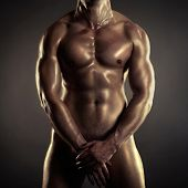 image of six pack  - Poto of naked athlete with strong body - JPG