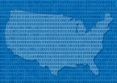 picture of united states map  - USA map in blue with a binary code - JPG