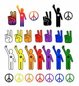 picture of peace-sign  - A vector collection of peace symbols in every color - JPG