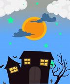 Illustration of a full moon and the haunted house