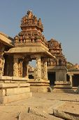 stock photo of vijayanagara  - Detail of the Krishna temple in Hampi a village on the place of the great ancient city Vijayanagara - JPG