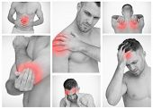 pic of muscle pain  - Pictures representing man having pain at several part of body - JPG