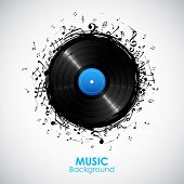picture of musical symbol  - illustration of music note from disc for musical background - JPG