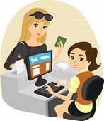 image of clip-art staff  - Illustration of a Girl Checking In at the Airport - JPG