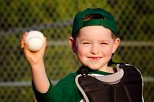stock photo of hitter  - Young child in catcher - JPG