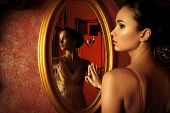 image of palace  - Beautiful young woman in a  luxurious classic interior - JPG