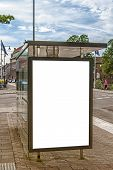 picture of bus-shelter  - A bus stop in the Swedish town of Halmstad with blank bilboard for your advertising needs - JPG