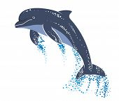 pic of porpoise  - Playing and jumping dolphin in ocean waves - JPG