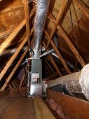stock photo of air conditioning  - Heating Furnace and Air Conditioner unit in Attic - JPG