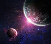 stock photo of spaceships  - Beautiful space background with the outer space - JPG