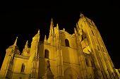 Segovia Cathedral At Night. Famous Spanish Landmark poster