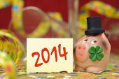 image of red clover  - new year 2014 with pig and clover as talisman - JPG