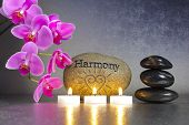 stock photo of harmony  - Japanese zen garden with stone of harmony and candle lights - JPG